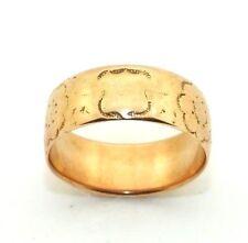 Ladies/womens 9ct 9carat rose gold patterned antique wedding band, UK size N