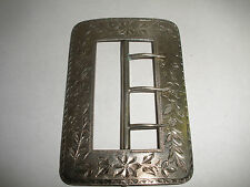 Antique Victorian 1889  sterling silver belt buckle etched floral decoration 44g
