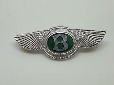 1960 BENTLEY MOTORCARS OWNERS BADGE BROOCH Solid Silver & Enamel 'Winged B'