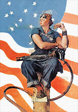 """Rosie the Riveter, 1943, Norman  Rockwell - Poster Vintage Recreation 24""""x16"""""""