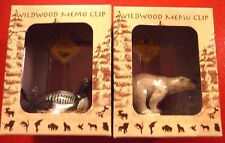 Funny and Cute Lot of 2 Wildwood Memo Clip - Hand Made & Painted