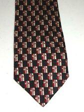 Christians Closet Mens Black Silver Red Cross Silk Neck Tie Necktie