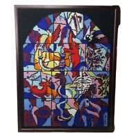 Vtg Stained Glass Hand Made Finished Framed Needlepoint Church Window Picture