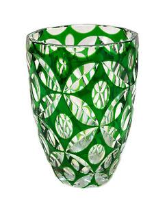 Bohemian Green Cut to Clear Vase, circa 1930