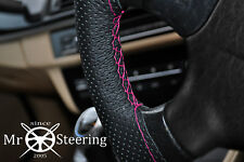 FOR GMC TERRAIN 10-17 PERFORATED LEATHER STEERING WHEEL COVER HOT PINK DOUBLE ST