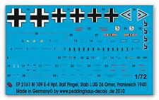 1/72 Calcomanías para Bf 9 E-4 Hpt R. Gel pin JG 26 2161