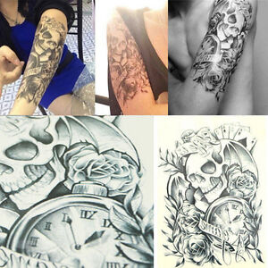 Temporary Tattoo Body Arm Skull Stickers Removable Waterproof Black LaZZIT