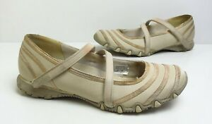 Ladies SKECHERS Beige Leather Mary Jane Pumps/Trainers Size UK 6 Good Cond