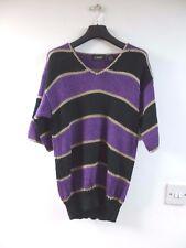 Unbranded vintage acrylic/nylon stripy loose knit jumper/top size S/M