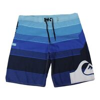 Quiksilver Mens Board Shorts Size 44 Spellout on Leg Large Logo Shades of Blue