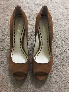 New Enzo Angiolini Women's Easully Brown Leather Peep Toe Size 5.5