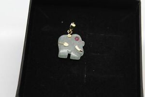 BRAND NEW Gold Jade Pendant Solid 14ct Chinese Elephant Ruby