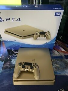 PS4 Slim 1Tb Gold Limited Edition Console With Gold Controller CIB