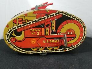 Vtg 1930's MARX Tank Wind Up No. 3 US Army Tin Lithograph Toy USA
