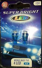 CAR LAMP BULB x 2 SUPER BRIGHT WEDGE BASE 4 LED T10 12V INTERIOR LIGHT BLUE UK
