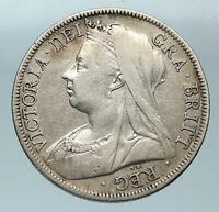 1895 UK Great Britain United Kingdom QUEEN VICTORIA 1/2 Crown Silver Coin i83671