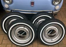 4X CLASSIC FIAT 500 WHITE WALL TYRES 125X12 TYRE AND ROAD WHEELS KIT NEW!
