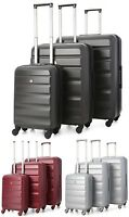 Aerolite Lightweight ABS Hard Shell 4 Wheel Spinner Suitcase 3-Piece Luggage Set