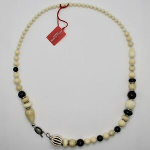 ANTICA MURRINA VENEZIA NECKLACE WITH MURANO GLASS BLACK BEIGE WHITE COA06A02