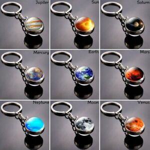 Glow in the Dark Galaxy System Keychain Double Sided Glass Dome Planet Keyring