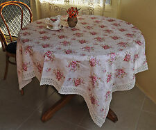 Country Rose Bouquets Jacquard Tablecloth Crochet Lace Square 150x150CM Brown