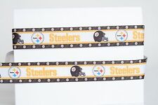 """Pittsburgh Steelers 7/8"""" Grosgrain Ribbon 1,3,5,10 Yards Football Ship From Usa"""