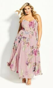 CITY CHIC S 16 NWT RRP $139.95 MAXI  WILD HEARTWINE FLORAL