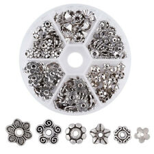 1Box Antique Silver Mixed Style Tibetan Style Alloy Flower Bead Caps 7~10x4~10mm