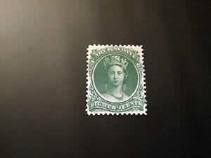 """JPS_Stamps! - Nova Scotia #11... """"Queen Victoria, 8 1/2¢ green"""" (vf, no gum)"""