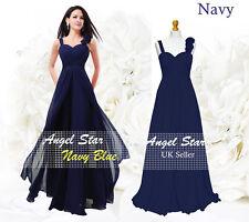Formal Chiffon Long Evening Ball Gown Party Prom Wedding Bridesmaid Dress UK Navy Blue 22 - 24