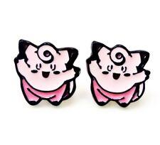 Pokemon CLEFAIRY Character Metal Enamel Stud Earrings Gift Ships Fast USA Seller