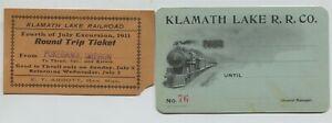 1910 era Klamath Lake Railway Company Railroad Annual Pass & 1911 ticket