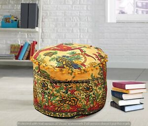 Indian Tree Of Life Mandala Floor Moroccan Handmade Ottomans Round Pouffe Cover