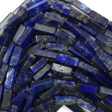 "13mm natural blue lapis lazuli side tube beads 16"" strand"