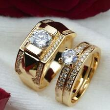 Luxury 18K Gold Plated Stainless Steel Wedding Couple Ring Engagement Rings Set#
