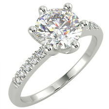 1.13 Ct Round Cut VS1/E Solitaire Pave Diamond Engagement Ring 14K White Gold