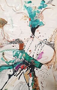 Vintage abstract expressionism tachisme ink painting