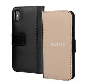 Mood Beige Colour Plain Backround Wallet Flip Phone Case Cover