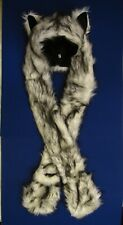 White Wolf Hood Faux Fur Hat with Scarfs Mittens Paws Spirit 3 in 1