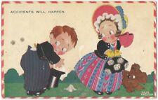 1920s Chloe Preston 'Accidents Will Happen' Valentine Postcard