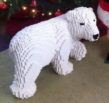 Lego Custom Winter Arctic Polar Bear Sculpture 53cm x 30cmx 37cm Display ARt