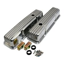Polished Aluminum Valve Covers Tall Retro Finned 58-86 SBC Chevy 327 350 400