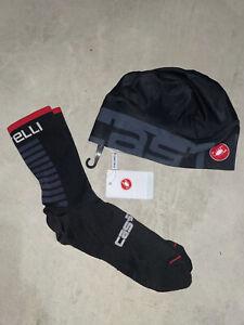 Castelli Cycling BRAND NEW unisex Sock + Skully Combo Black Onesize