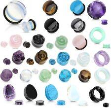 1 Pair 6g Organic Opalescent Stone Tunnels Eyelets Ear Six Gauge 4mm Opal