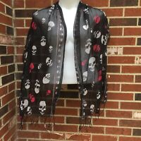 "Scarf Skull Fringed Edges Sheer Black 20""x72"" Wrap                           M19"