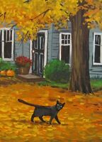 ACEO PRINT OF PAINTING RYTA HALLOWEEN GOLDEN AUTUMN FALL LANDSCAPE BLACK CAT ART