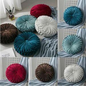 Round Pumpkin Throw Pillow Velvet Pleated Decorative Chair Cushion Floor Pads US