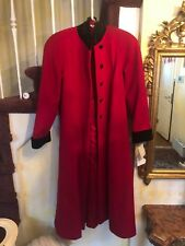 RED LESLIE FAYE LONG 100% WOOL COAT BLACK BUTTONS, Velvet COLLAR AND CUFFS 8