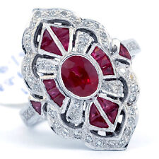 Luxurious 925 Silver Red Ruby Gemstone Ring Wedding Engagement Jewelry Size 6-10