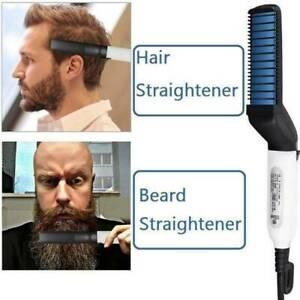 Electric Beard Straightner Brush Men Styling Straightening Heated Comb Show UK